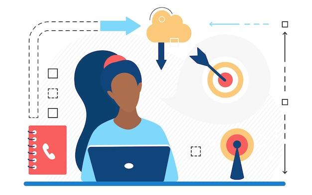 Contactez-nous technologie de centre de service d'appels d'assistance conceptuelle avec opérateur travaillant en ligne