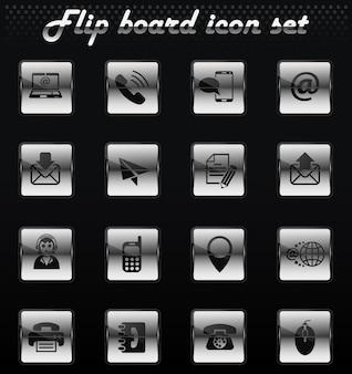 Contactez-nous vector flip icônes mécaniques pour la conception de l'interface utilisateur