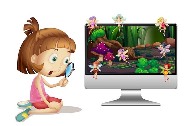 Conte de fées sur écran d'ordinateur