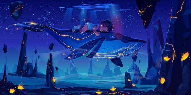 Conte de fées de l'espace avec une énorme baleine