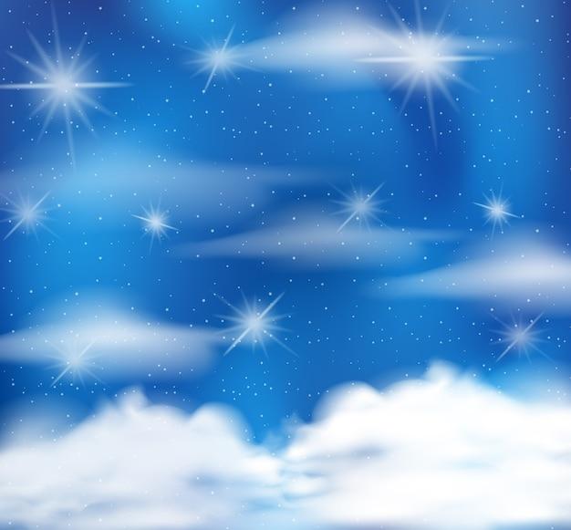 Conte de fées magique fond bleu pastel