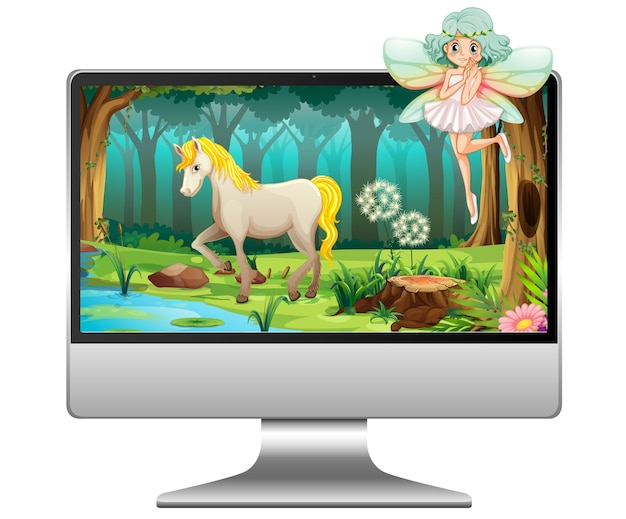 Conte de fées sur ordinateur isolé