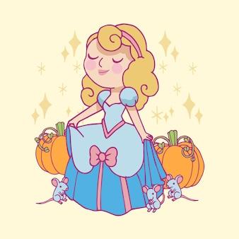 Conte de fées avec la princesse de cendrillon