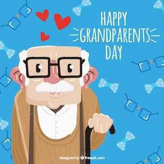 Conte de grand-père avec des lunettes et de la canne
