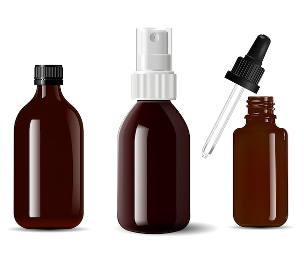 Contenant cosmétique en verre brun de bouteille médicale, 3d