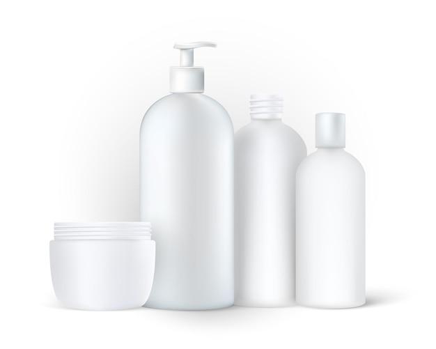 Contenants et boîtes en plastique d'emballage cosmétique réaliste