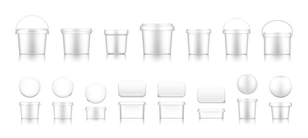 Contenants et seaux d'emballage alimentaire en plastique vierges pour la marque