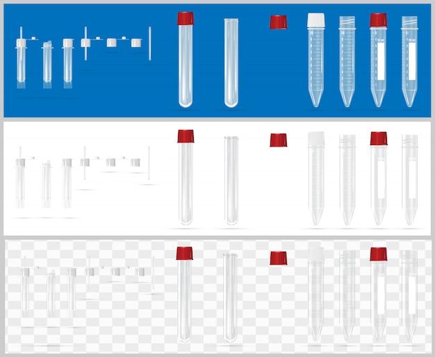 Contenants stériles pour analyse. conteneurs ouverts et fermés.