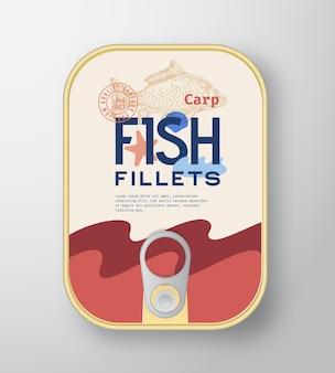Conteneur en aluminium pour filets de poisson avec couvercle d'étiquette.