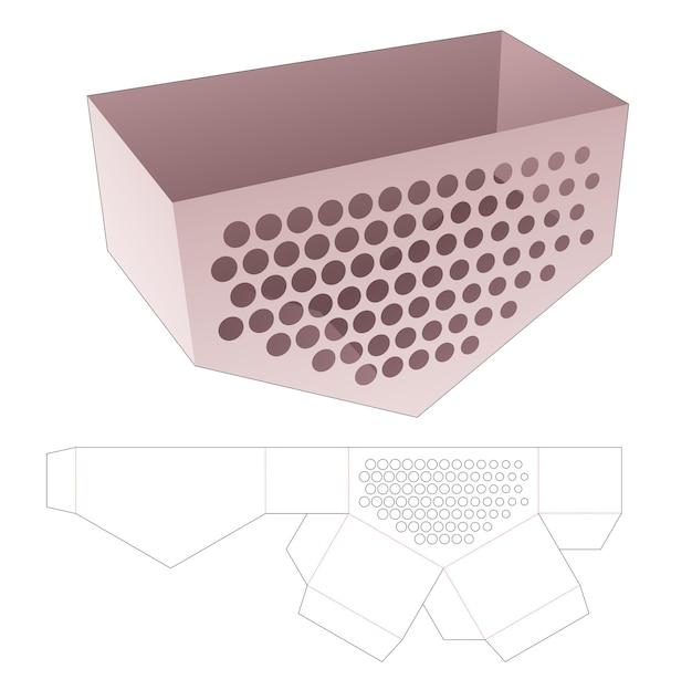 Conteneur à angle inférieur avec gabarit de découpe en forme de points au pochoir