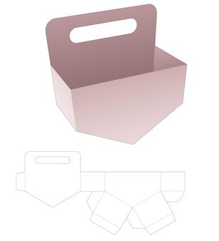 Conteneur à angle inférieur avec gabarit de découpe de poignée