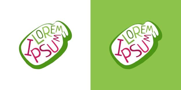 Conteneur bocal en verre. emblème vert de style de conception de société de vecteur avec l'inscription à l'intérieur. illustration vectorielle de banque entreprise symbole