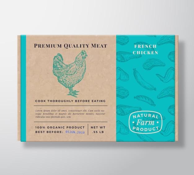Conteneur de boîte en carton réaliste de modèle de viande.