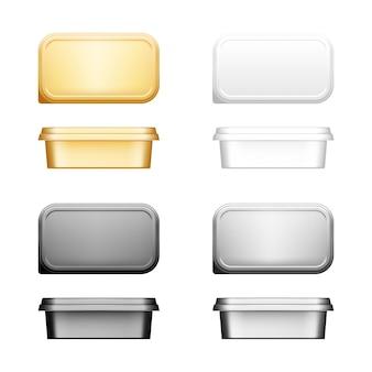 Conteneur de fromage, de beurre ou de margarine avec ensemble de maquette de couvercle - vue de face et de dessus.