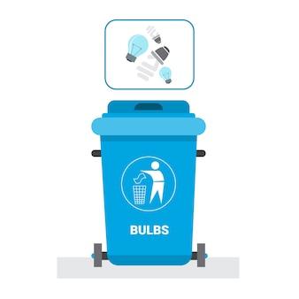 Conteneur à ordures pour les déchets d'ampoules