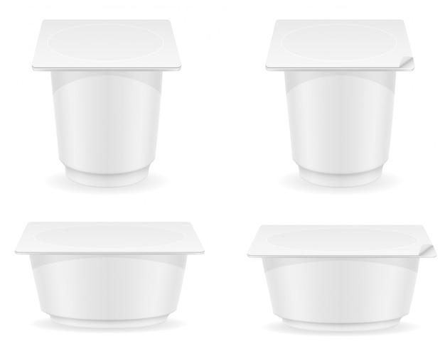 Conteneur en plastique blanc blanc d'illustration vectorielle yogourt