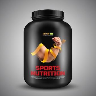 Conteneur de vecteur de nutrition sportive avec étiquette de biceps un homme fort enveloppé dans un ruban d'or. illustration réaliste de pot en plastique noir isolé sur fond gris