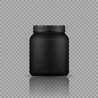 Conteneurs noirs de nourriture de sport bouteille en plastique noire réaliste avec le vecteur de protéine