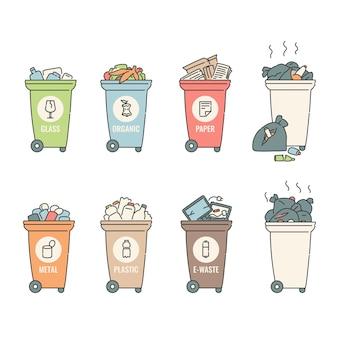 Conteneurs tri des déchets plastique papier organique verre métal recyclage des ordures.
