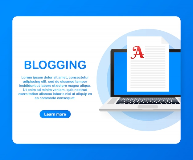 Contenu du blog, blogging, post concept pour page web, bannière, présentation, médias sociaux, documents. .