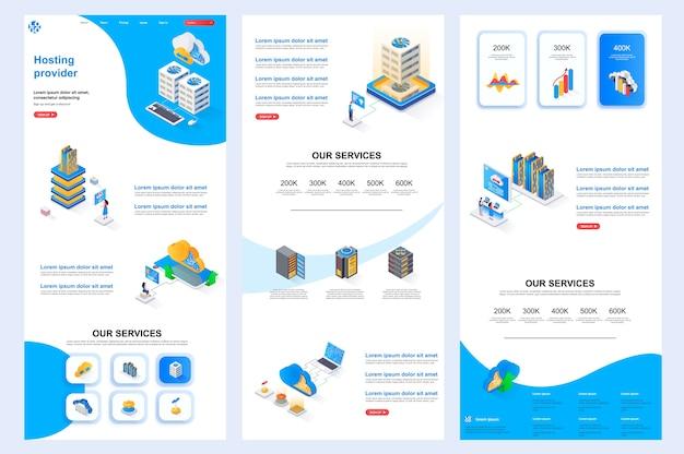 Contenu du milieu et pied de page du modèle de site web isométrique du fournisseur d'hébergement