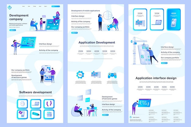 Contenu du milieu et pied de page du modèle de site web plat de la société de développement