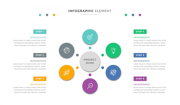 Contenu des éléments infographiques avec six options ou étapes
