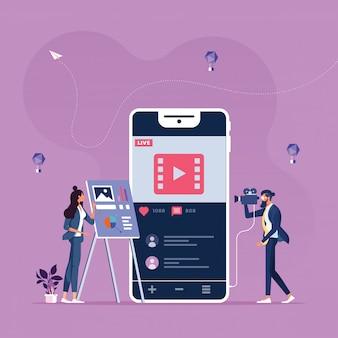 Contenu de marketing en ligne-concept de médias sociaux et de réseaux sociaux