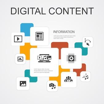 Contenu numérique infographie 10 icônes de ligne template.vector image, médias, vidéo, icônes simples de contenu social