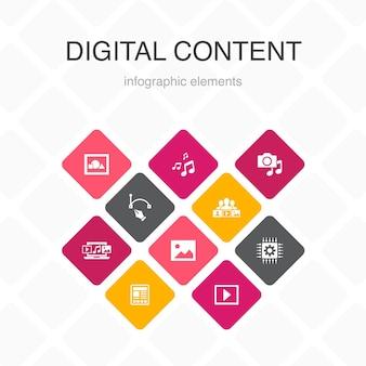 Contenu numérique infographie 10 option couleur design.image vectorielle, médias, vidéo, contenu social