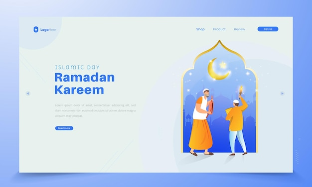 Contenu de la page de destination du ramadan kareem islamique