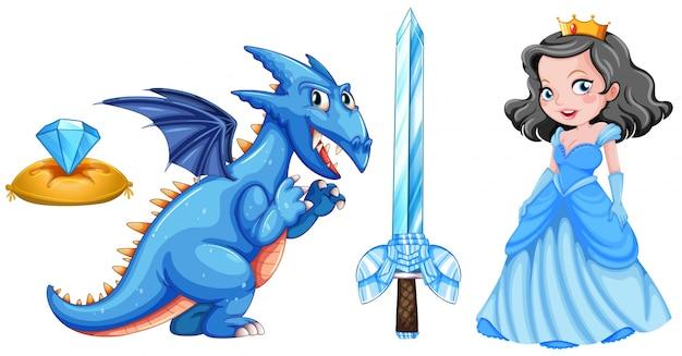 Contes de fées avec princesse et illustration de dragon