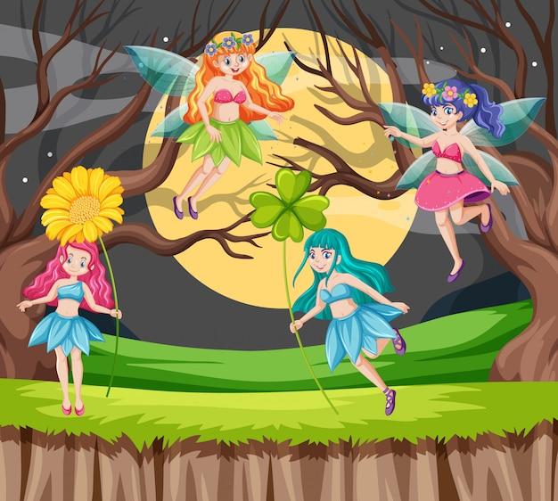 Contes de fées tenant le style de dessin animé fleur sur fond de lune et forêt