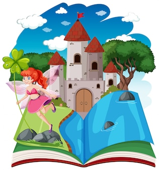 Les contes de fées et la tour du château sur le style de bande dessinée pop up book sur fond blanc