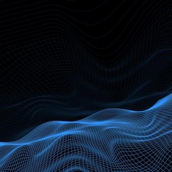 Contexte abstrait avec conception de terrain wireframe
