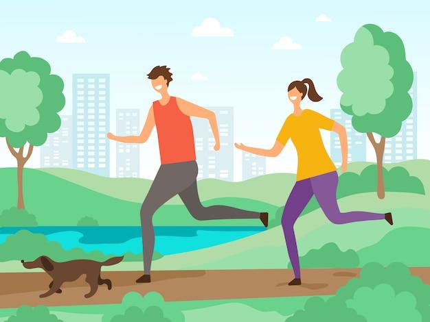 Contexte des activités sportives. les gens de fitness jogging ou courir à l'extérieur des personnages plats