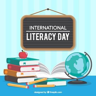 Contexte d'affiche avec éléments du jour international de l'alphabétisation