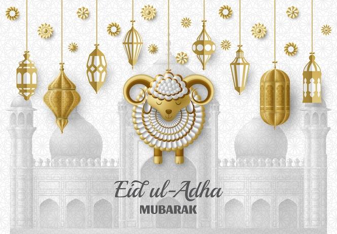 Contexte de l'aïd ul adha. lanternes et moutons arabes islamiques. carte de voeux. fête du sacrifice. illustration.