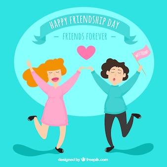 Contexte de l'amitié avec deux femmes heureuses