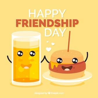 Contexte de l'amitié avec hamburger et bière