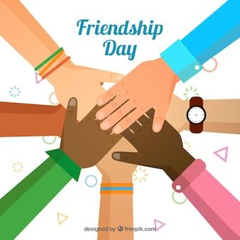 Contexte de l'amitié avec les mains unies