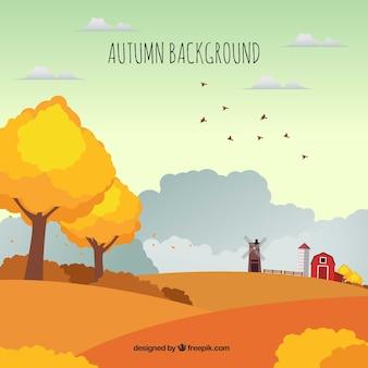 Contexte d'automne avec la ferme et le paysage
