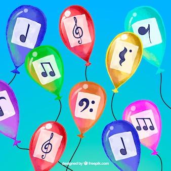 Contexte de ballons colorés d'aquarelle avec des notes musicales