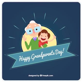 Contexte d'un beau grand-père avec son petit-fils