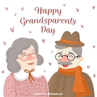 Contexte de beaux grands-parents en style vintage