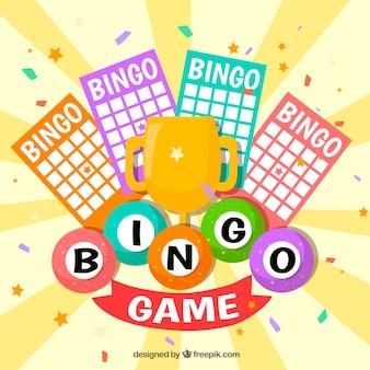 Contexte de bingo avec trophée