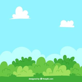Contexte avec des buissons en tons verts