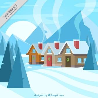 Contexte de cabanes dans le paysage enneigé