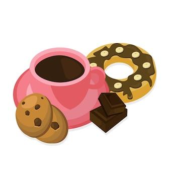 Contexte de café et de bonbons