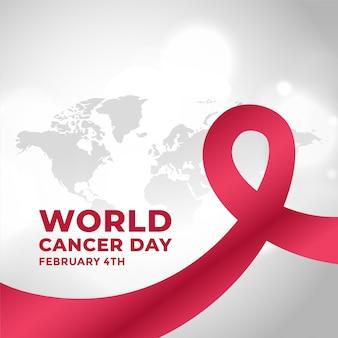 Contexte de la campagne de la journée mondiale contre le cancer avec ruban